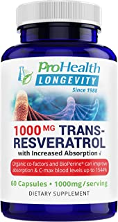 ProHealth Longevity 1000 mg Trans Resveratrol Plus 420 mg Organic Polyphenol Complex That Improves Absorption up to 1544%