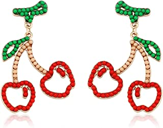 Seni Bead Drop Earrings Bohemian Seed Bead Earrings Handmade Beaded Dangle Studs Earrings for Women Girls Fruit Jewelry