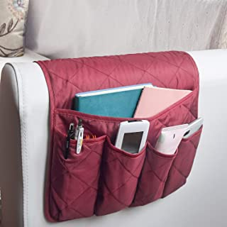 MDSTOP 5 Pockets Remote Control Holder, Magazine Rack, Space Saver Organizer, Draped Over Sofa, Couch, Recliner Armrest(Wine Red)