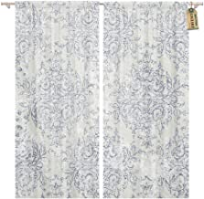 Golee Window Curtain Blue French Taupe and Navy Toile Beige Antiqued Filigree Home Decor Rod Pocket Drapes 2 Panels Curtain 104 x 96 inches