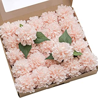 Ling's moment 25pcs Blush Pink Real Looking Fake Dahlia Artificial Flowers w/Stem for DIY Wedding Bouquets Centerpieces Arrangements Party Baby Shower Home Decorations