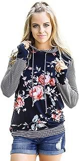 Women's Hoodie Sweatshirt Autumn Floral Striped Long Sleeve Shirt Blouse Tops