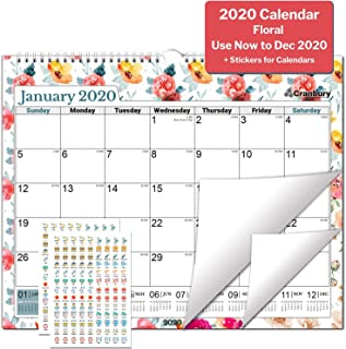 Large Wall Calendar 2020 (Floral) 15x11.5 Monthly Large Wall Calendar, Stunning Floral Designs, Big Hanging Calendar, Use from September 2019 to December 2020, with Stickers for Wall Calendars