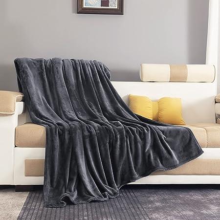 RATEL Plaid Couverture Polaire 150x200cm Gris Foncé, Couverture en Flanelle épaisse Douce Et Confortable, Peut être Utilisée comme Draps De Lit, Couverture bébé, Housse De Canapé Facile à Entretenir