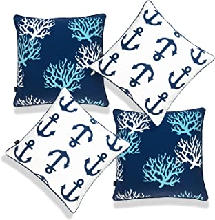 Hofdeco Beach Nautical Indoor Outdoor Pillow Cover ONLY, Water UV Resistant for Patio Lounge Sofa, Navy White Aqua Coral A...