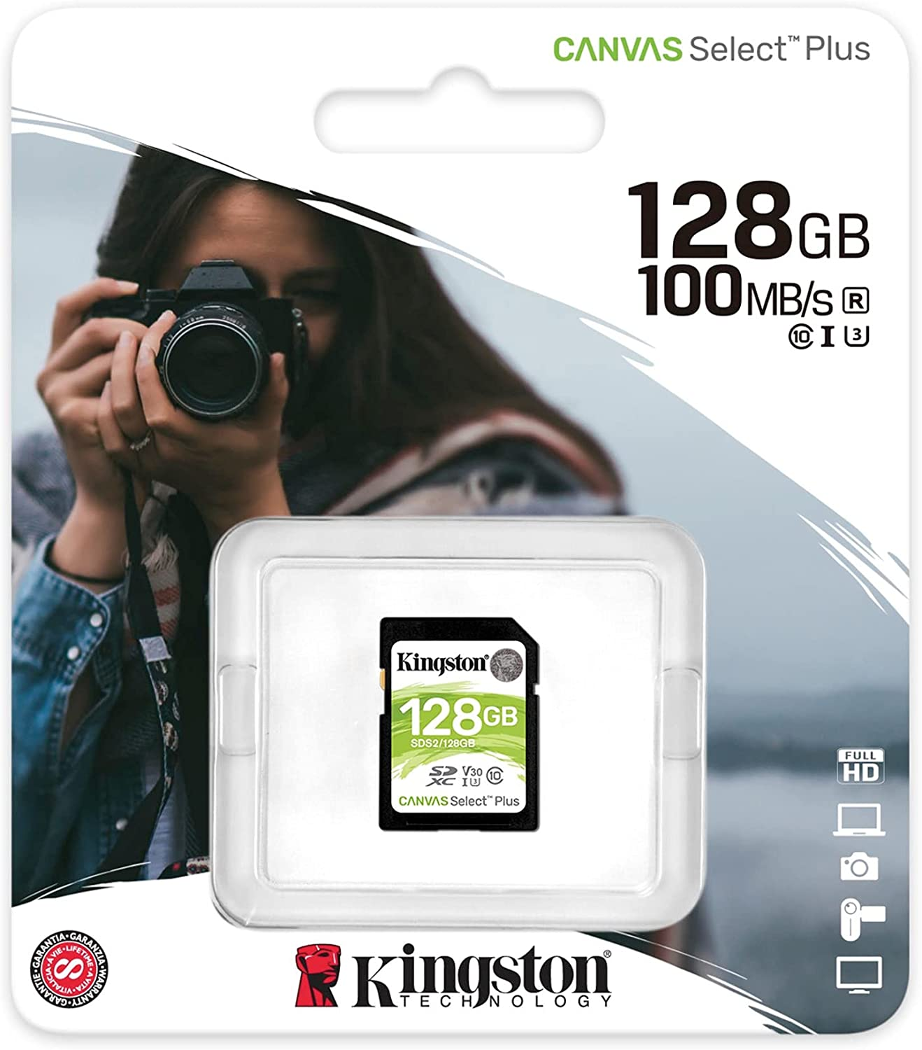 Kingston 128GB SDHC Canvas Select Plus Memory Card (SDS2/128GB) with Kingston Mobilelite Card Reader Bundle (2 Items)