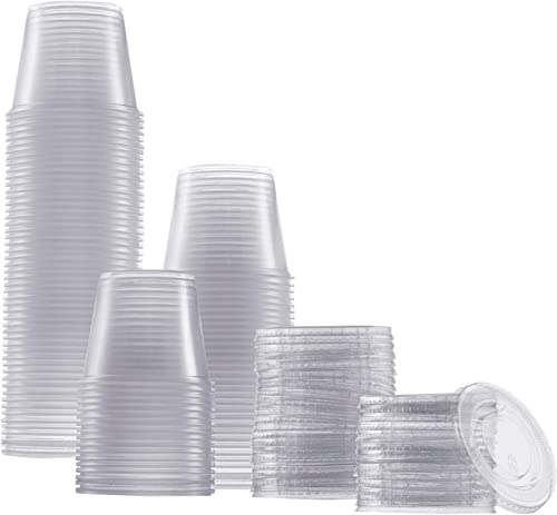 Zeml Portion Cups with Lids (5.5 Ounces, 100 Pack) | Disposable Plastic Cups for Meal Prep, Portion Control, Salad Dr...