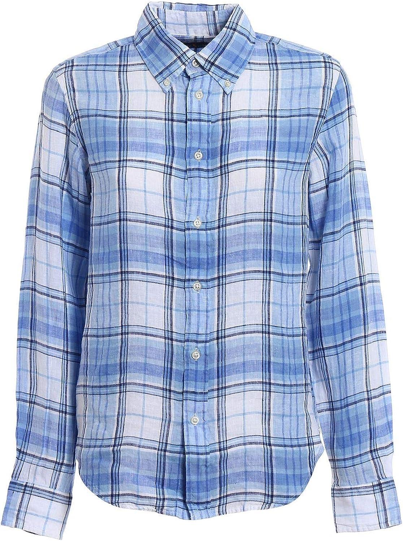 Ralph Lauren Women's 211697464003 White bluee Linen Shirt