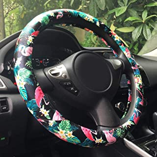 """Rayauto Automotive Flamingo Pattern PU Leather Car Steering Wheel Cover Protector Grip 15"""" (Flamingo) Fits Most of Cars"""