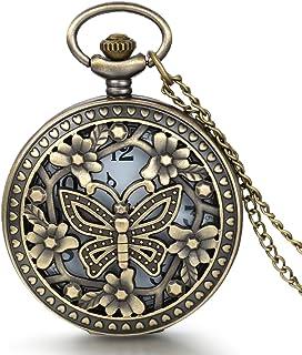JewelryWe Retro Design Bronze Butterfly Flower Openwork Cover Pocket Quartz Watch with 31.5 Inch Chain
