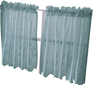 HomeyHo Rod Pocket Sheer Cafe Curtains Lace Set of 2 Kitchen Tier Curtains for Windows Tier Curtain 24 Inch Small Semi Sheer Curtains Half Short Curtains for Small Window Girls, 29 x 24 Inch, Blue