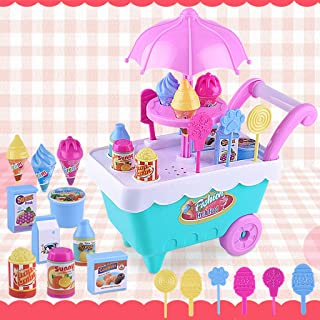 XUANOU Kids Fruit Ice Cream Candy Vegetables Food Cart Toy Music Pretend Play Toys Set