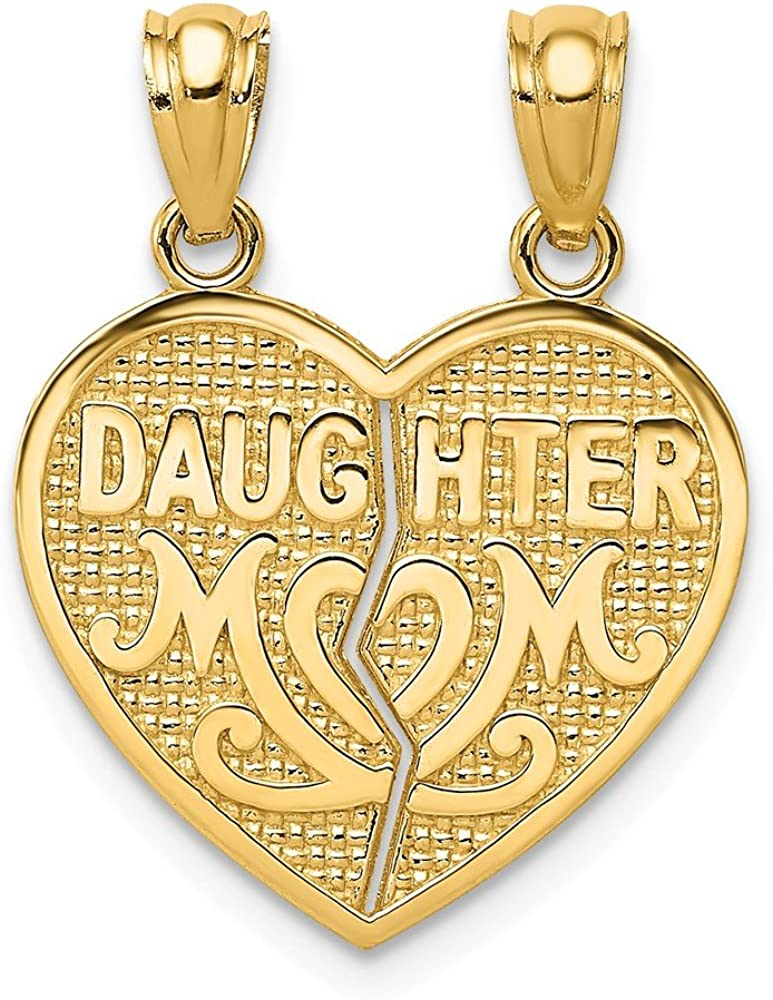 Solid 14k Yellow Gold Daughter Mom Break Apart Heart Brushed Matte Finish Pendant Charm 15mm