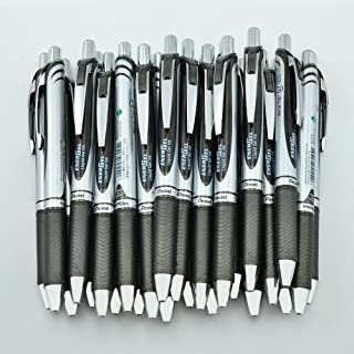 Pentel EnerGel RTX Deluxe Retractable Liquid Gel Pen, Fine .7mm Metal Tip, Black Ink, Silver Barrel (Bulk Lot of 15) (BL77-A)