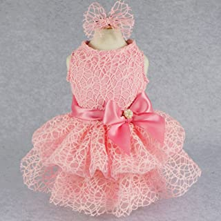 Fitwarm Luxury Pink Lace Dog Tutu Dress Pet Wedding Clothes Shirts + Matching Hair Clip, Pink