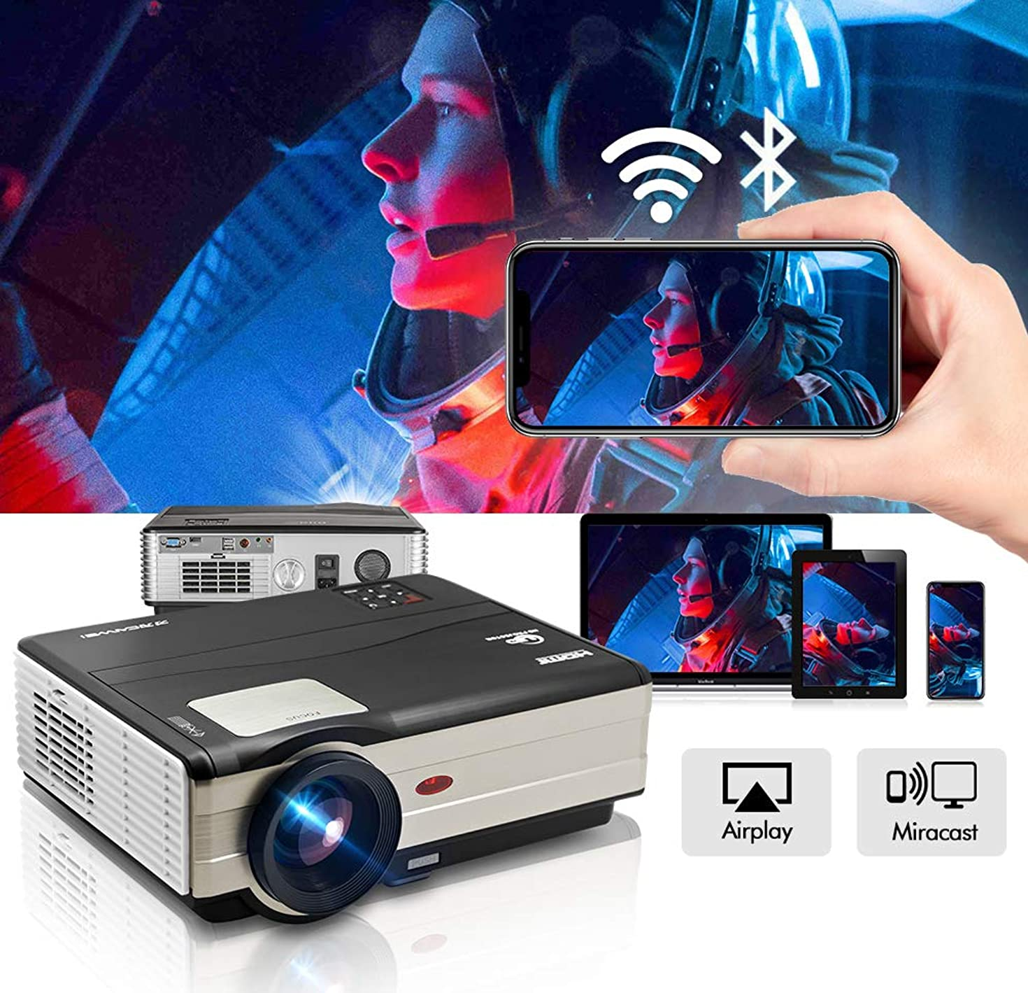 Projector WiFi Bluetooth 4200 Lumens 1080P Supported 200