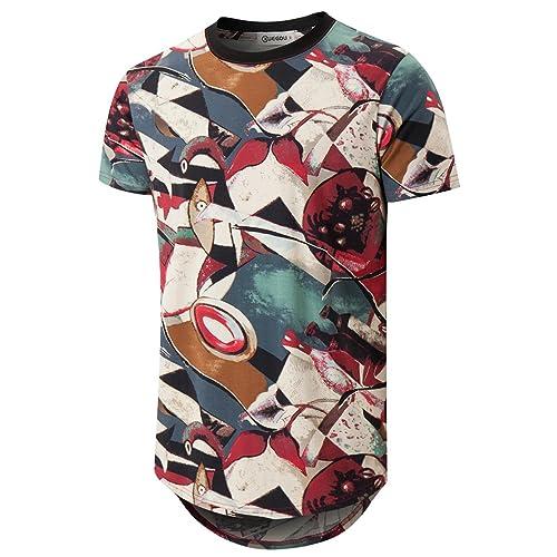 b0fda553b KLIEGOU Mens Hipster Hip Hop Ripped Round Hemline Pattern Print T Shirt  (05MC)