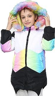 Kids Girls Puffer Jacket Rainbow Faux Fur Hooded Contrast Panelled Warm Coats
