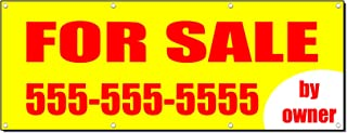 for Sale by Owner Real Estate Custom Phone Banner Sign 2 Ft X 4 Ft/W 4 Grommets
