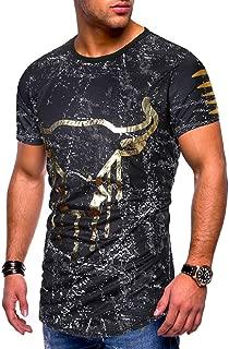 Punk Camisetas Hombres Toro Impresa Manga Corta Original Diseno Camisas Verano Polo tee Shirt