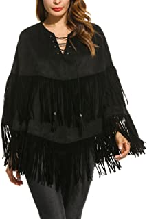 Spring Fall Faux Suedette Poncho Cape Coat Lace Up Front Fringed Poncho Cape Outwear
