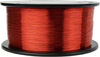 TEMCo 34 AWG Copper Magnet Wire - 1 lb 7845 ft 155°C Magnetic Coil Red