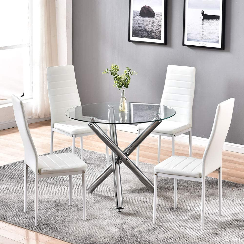 9HOMART Dining Table with Chairs Set, 9 PCS Round Glass Table Set Modern  Tempered Glass Top Table with 9 White PU Leather Chairs Dining Room  Furniture