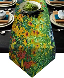 "Dining Table Runner Oil Painting Wildflower Spring Summer Season Artwork Kitchen Table Runner for Dinner Parties, Events, Decor 14"" x 72"""