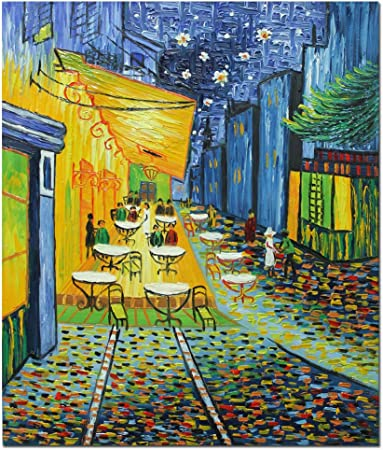 Fokenzary Pintura De Reproduccion De Terraza De Cafe Por La Noche De Vincent Van Gogh Lona 12x16in Amazon Es Hogar
