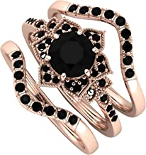TUU Three-piece Flower Set With Zircon Rings, Diamond Cluster Ring, Dainty Stackable Diamonds Ring for Women/Girls