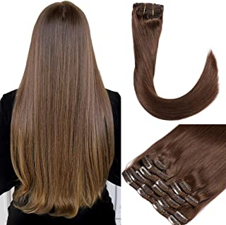 Clip in/on Human Hair Extensions Balayage Clip in Hair Extensions Real Hair Extensions Remy Human Hair Extensions Thick Silky Straight for African American Natural Looking(18