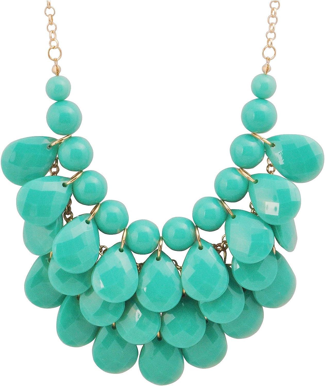 Jane Stone Fashion Floating Bubble Necklace Teardrop Bib Collar Statement Jewelry for Women