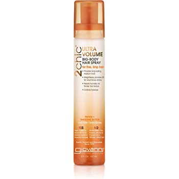 GIOVANNI 2chic Ultra Volume Big Body Hair Spray, 5 oz. Papaya & Tangerine Butter, Thin Fine Hair, Creates Thickness & Lift, No Parabens, Color Safe (Pack of 1)