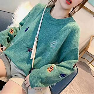 LCHOBYM Women's Sweater Fashion Cartoon Pattern Pullover Long Sleeve Plaid Casual Ladies Sweaters