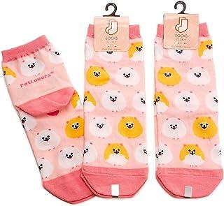 3足セット ポメラニアン レディース ソックス Pomeranian Socks ペットとアニマルソックス Pet & Animal Socks SD-3007 ペットラバーズ ピンク