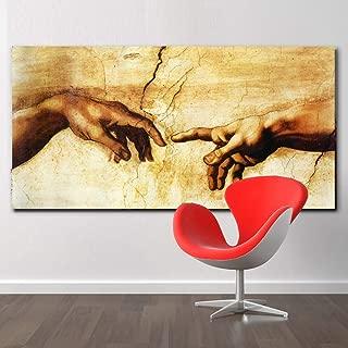 alicefen Cuadro en Lienzo ¡Creación de Adán! ¡Mano de Dios! Imágenes de Pared de religión clásica para Sala de Estar Famosos Carteles de impresión de Arte 50X100 cm