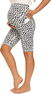 Women's Maternity Yoga Shorts Over The Belly Active Comfy...