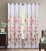 Home Collection 2 Curtain Panels with Beautiful Coral and Brown Flowers Print New