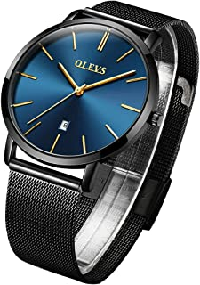 OLEVS Mens Minimalist Thin Watches for Male Big Face Date Dress Wrist Watch Casual Slim Simple Quartz Analog Watch Waterproof 3ATM with Leather or Mesh Steel Band