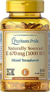 Puritans Pride Mixed Tocopherols Natural- Softgels, Vitamin E, 100 Count