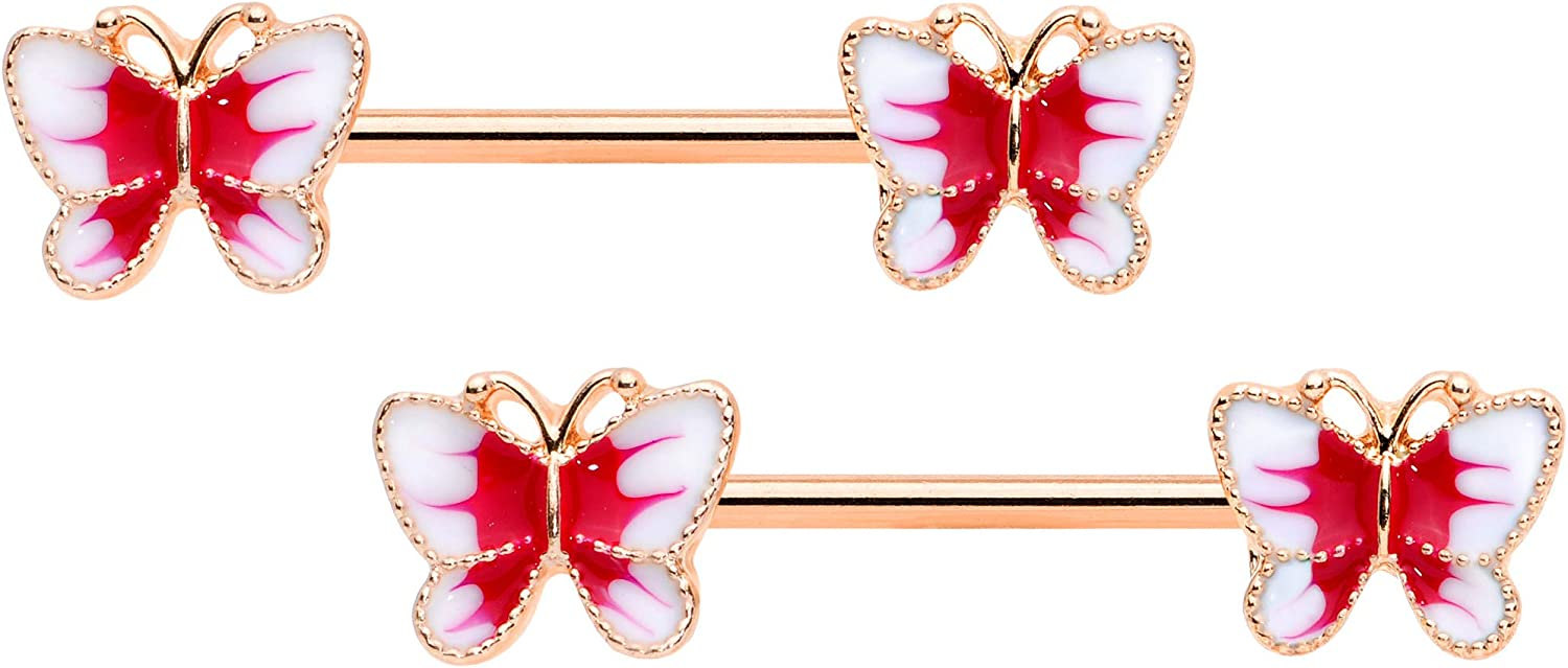 Body Candy 14G Womens Nipplerings Piercing Plated Steel 2Pc Rosy Color Butterfly Nipple Ring Set 9/16