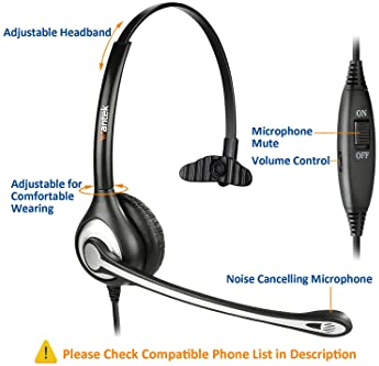 Wantek Corded Telephone Headset Mono w/Noise Canceling Mic Compatible with ShoreTel Plantronics Polycom Zultys Toshib...