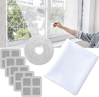 paquete de 3 mosquiteras de malla para mosquitos blanco blanco 1,3 x 1,5 m Mosquitera para ventanas con 3 rollos de cintas autoadhesivas blancas y 1 parche de repuesto