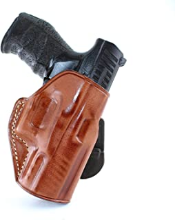 Premium Leather OWB Paddle Holster Open Top Fits Walther PPQ M2 45ACP 4.25''BBL, Right Hand Draw, Brown Color #1425#