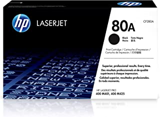HP 80A | CF280A | Toner Cartridge | Works with HP LaserJet Pro 400 Printer M401 series, M425dn | Black