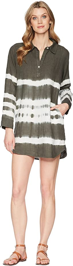 Allen Allen 3/4 Sleeve Tie-Dye Dress