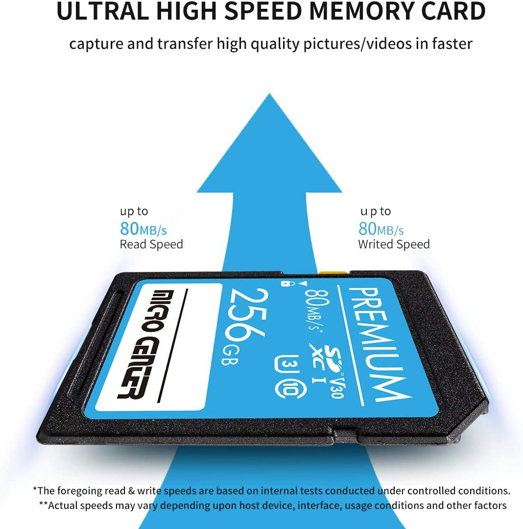 Premium 256GB SDXC Card by Micro Center, Class 10 SD Flash Memory Card UHS-I C10 U3 V30 4K UHD Video R/W Speed up to 80 MB/s for Cameras Computers Trail Cams (256GB)