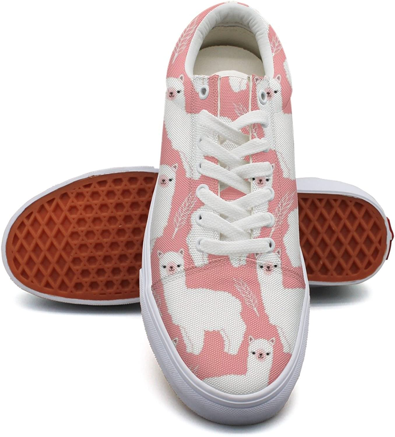 Pink Fluffy Llama Alpacas Fashion Canvas Sneaker For Womns 3D Printed Low Top Walking shoes