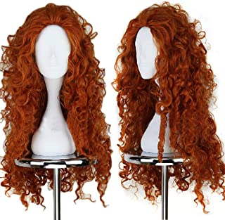 JoneTing Orange Wig Female Long Curly Synthetic Wig orange wig cosplay Wig for Princess Costume