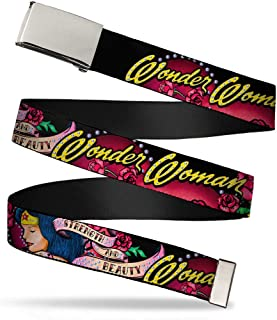 Buckle-Down Web Belt - WONDER WOMAN/Roses STRENGTH AND BEAUTY Black-Pink Fade